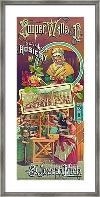 Vintage Hosiery Ad 1886 Framed Print by Padre Art
