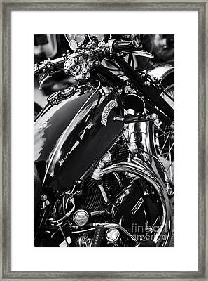 Vintage Hrd Vincent Series D Monochrome Framed Print by Tim Gainey