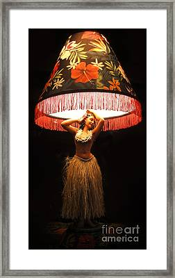 Vintage Hula Girl Lamp Framed Print