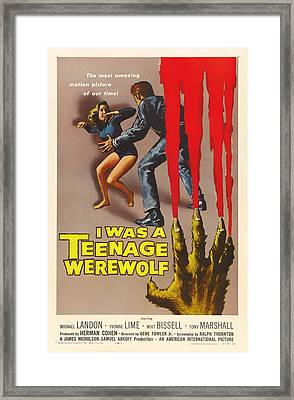 Vintage I Was A Teenage Werewolf Movie Poster Framed Print
