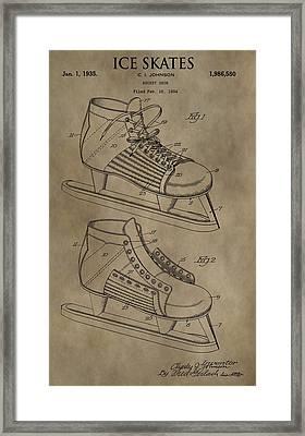 Vintage Ice Skates Patent Framed Print by Dan Sproul