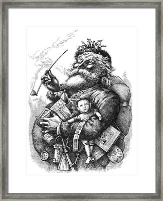 Vintage Illustration Of Santa Claus  Framed Print
