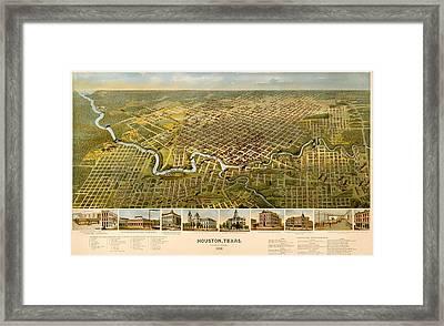 Vintage Illustrative Map Of Houston Texas Framed Print