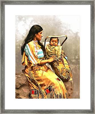 Ojibwast Equa And Papoose Framed Print by Vintage Image Collection
