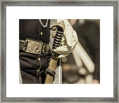 Vintage Image Of Soldier With Civil War Framed Print by Sheila Haddad