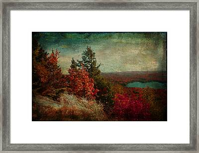Vintage Inspired Adirondack Mountains In Fall Colors Framed Print
