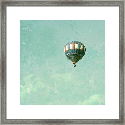 Vintage Inspired Hot Air Balloon In Red White And Blue Framed Print by Brooke T Ryan