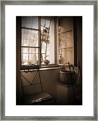Vintage Interior With A Wooden Framed Window Framed Print