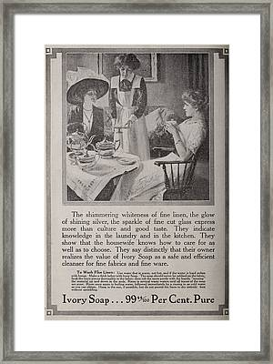 Vintage Ivory Soap Ad Framed Print by Georgia Fowler