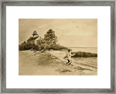Vintage Jacob At East Point  Framed Print by Nancy Patterson