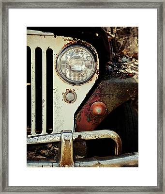 Vintage Jeep Willys Rusty Classic Car Framed Print by Lisa Russo