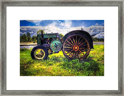 Vintage John Deere Framed Print by Debra and Dave Vanderlaan