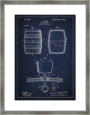 Vintage Keg Or Barrel Patent Drawing From 1898 - Navy Blue Framed Print by Aged Pixel
