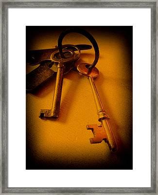 Vintage Keys Deep Antiqued Vignette Framed Print