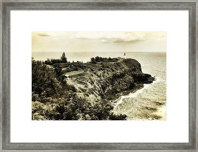 Vintage Kilauea Lighthouse Framed Print by Photography  By Sai