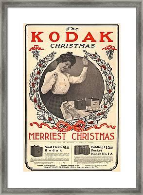 Vintage Kodak Christmas Card Framed Print