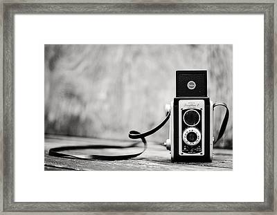Vintage Kodak Duaflex II Camera Black And White Framed Print by Terry DeLuco