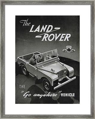 Vintage Land Rover Advert Framed Print by Georgia Fowler