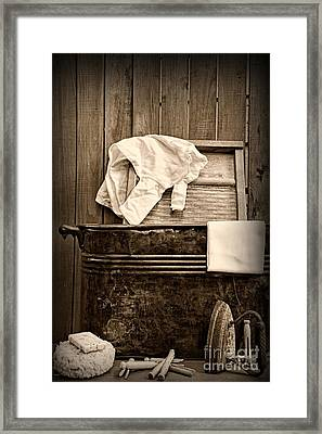Vintage Laundry Room In Sepia	 Framed Print