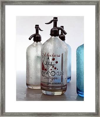 Vintage Leve-o-club Seltzer Bottles Framed Print