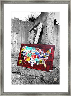 Vintage License Plates Reborn Framed Print by Design Turnpike