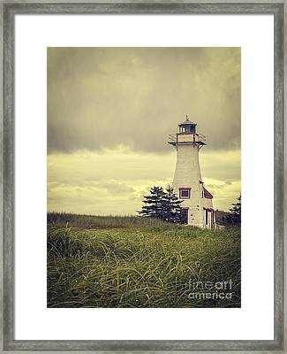 Vintage Lighthouse Pei Framed Print by Edward Fielding