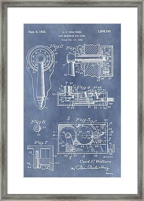 Vintage Lock Patent Framed Print by Dan Sproul