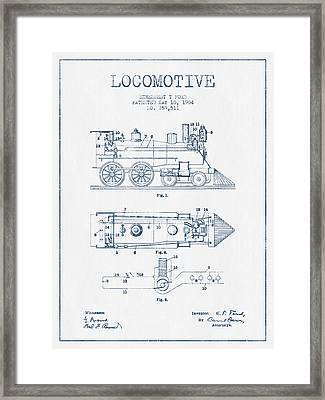 Vintage Locomotive Patent From 1904  -  Blue Ink Framed Print by Aged Pixel