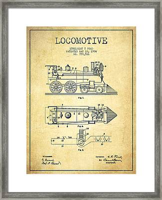 Vintage Locomotive Patent From 1904 - Vintage Framed Print by Aged Pixel