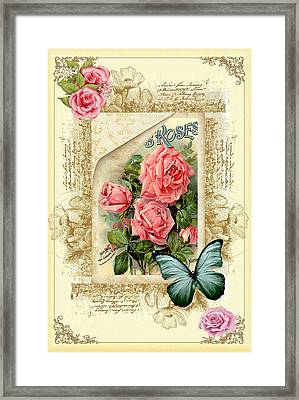 Vintage Look Roses And Butterfly Framed Print by DMiller