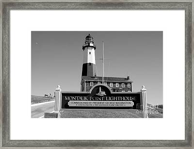 Vintage Looking Montauk Lighthouse Framed Print by John Telfer