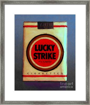 Vintage Lucky Strike Cigarette - Painterly - V1 Framed Print by Wingsdomain Art and Photography