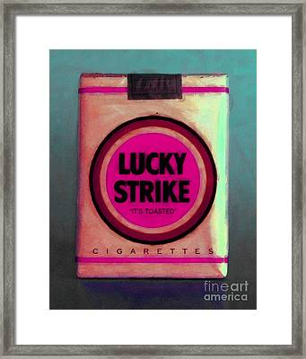 Vintage Lucky Strike Cigarette - Painterly - V2 Framed Print by Wingsdomain Art and Photography