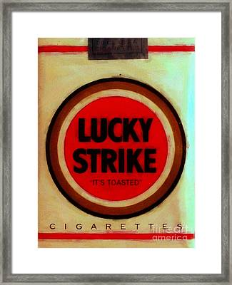 Vintage Lucky Strike Cigarette - Painterly - V3 Framed Print by Wingsdomain Art and Photography