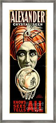 Vintage Magicians Playbill 1910 Framed Print by Padre Art
