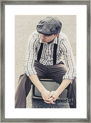 Vintage Male Fashion Model On Tv Framed Print by Jorgo Photography - Wall Art Gallery