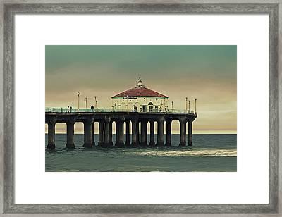Vintage Manhattan Beach Pier Framed Print by Kim Hojnacki