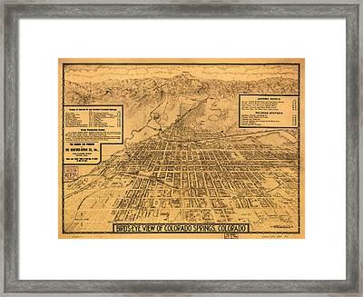 Vintage Map Of Colorado Springs 1909 Framed Print
