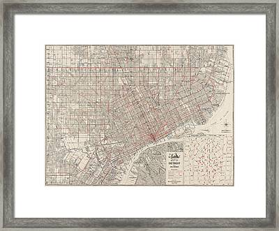 Vintage Map Of Detroit Michigan From 1947 Framed Print
