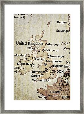 Vintage Map Of England Framed Print by Birgit Tyrrell