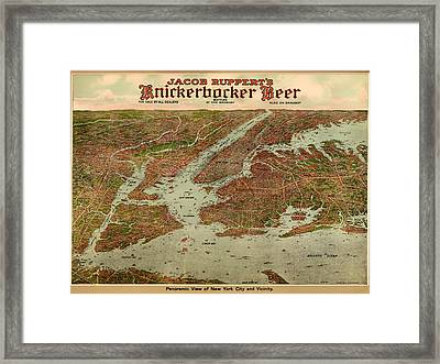 Vintage Map Of New York City 1929 Framed Print by Mountain Dreams