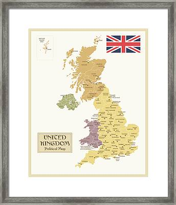 Vintage Map Of United Kingdom Framed Print by Pop jop