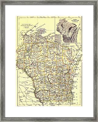 Vintage Map Of Wisconsin 1888 Framed Print