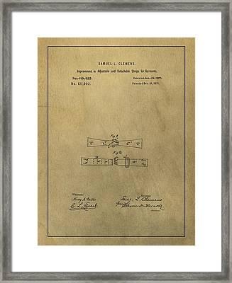 Vintage Mark Twain Patent Framed Print