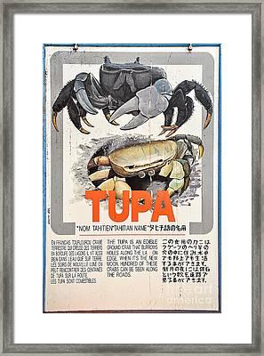 Vintage Market Sign 4 - Papeete - Tahiti - Tupa - Crab Framed Print by Ian Monk