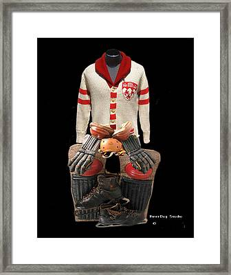 Vintage Mcgill Sweater And Hockey Equipment Framed Print