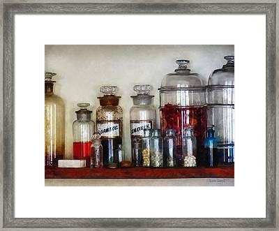 Vintage Medicine Bottles Framed Print