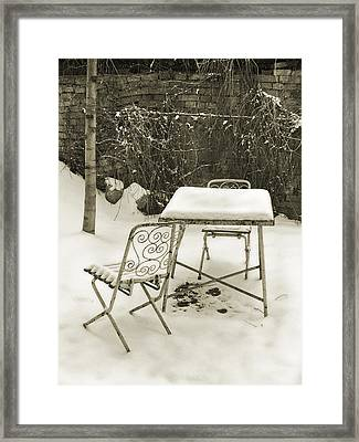 Vintage Metal Chairs Covered With Snow Framed Print