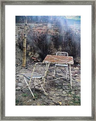 Vintage Metal Chairs In The Backyard Framed Print