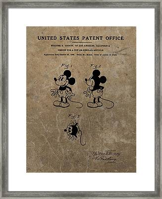 Vintage Mickey Mouse Patent Framed Print by Dan Sproul
